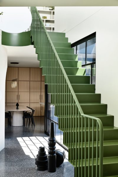 retro designed green staircase